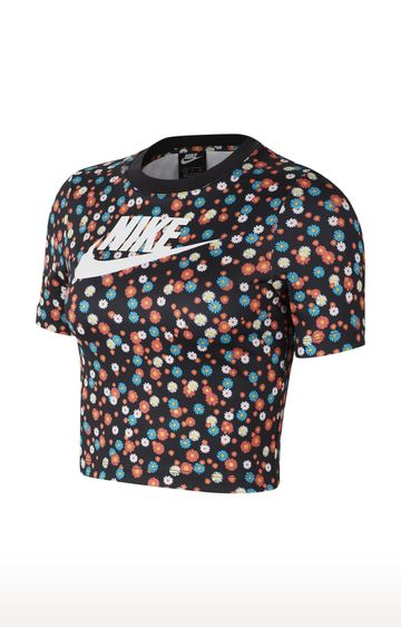 Nike | Black Sportswear Heritage Floral T-Shirt