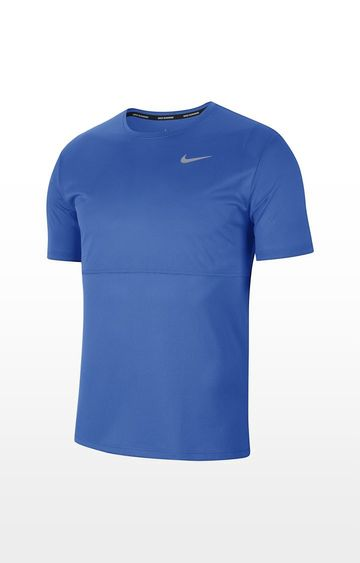 Nike | Blue Solid Breathe Run Ss T-Shirt