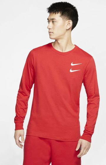 Nike   Red Solid T-Shirt