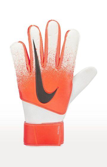 Nike   White and Orange Match Goalkeeper Gloves