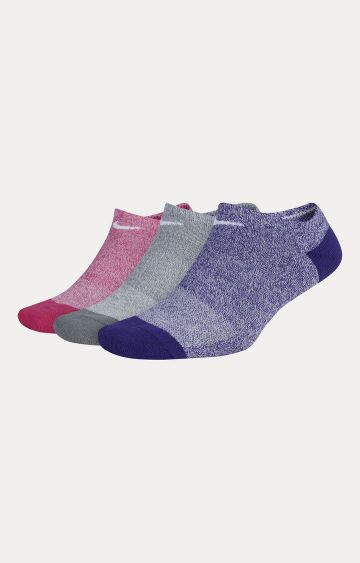 Nike | Pink, Grey and Purple Nike Everyday Cushioned No-Show Training Socks - Pack of 3