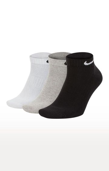 Nike | Multicoloured Solid Everyday Cushioned Socks - Pack of 3