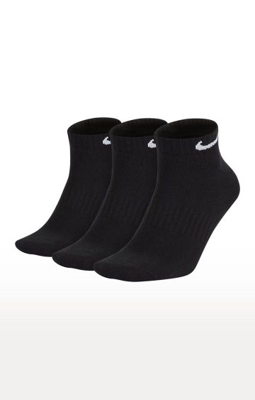 Nike | Black Solid Everyday Lightweight Socks - Pack of 3