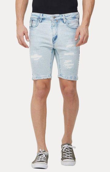 Killer   Light Blue Ripped Shorts