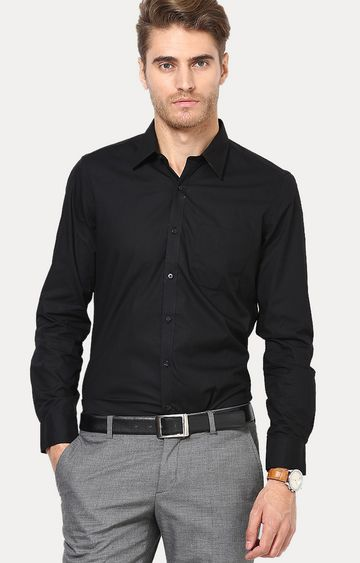 Turtle | Black Solid Formal Shirt