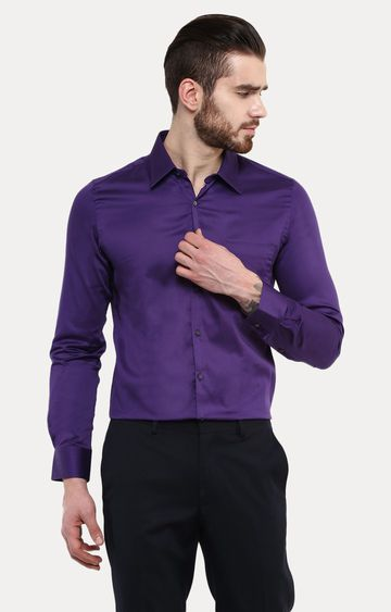 Turtle | Purple Solid Formal Shirt