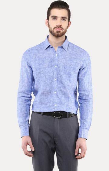 Turtle | Blue Solid Formal Shirt