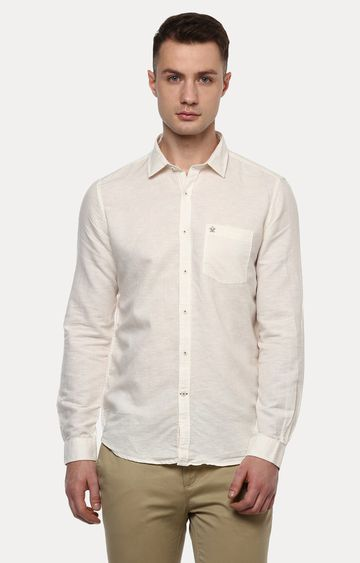 Turtle | Beige Solid Casual Shirt