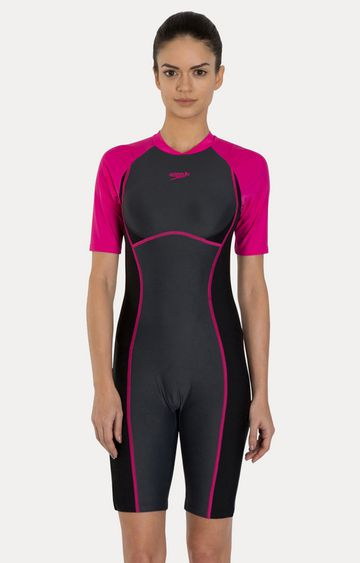 Speedo   Oxid Grey and Electric Pink Colourblock Swimsuit