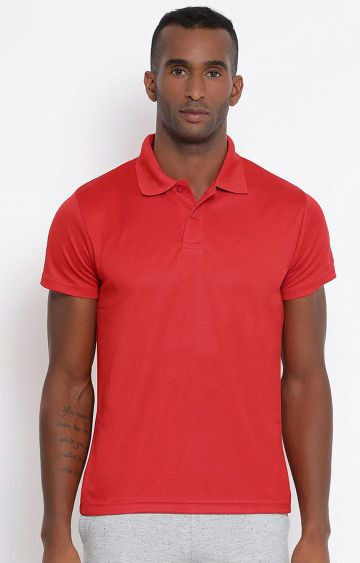 Lotto | Red Solid Polo T-Shirt