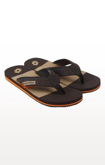 Lotto | Brown and Yellow Paolo Flip flops