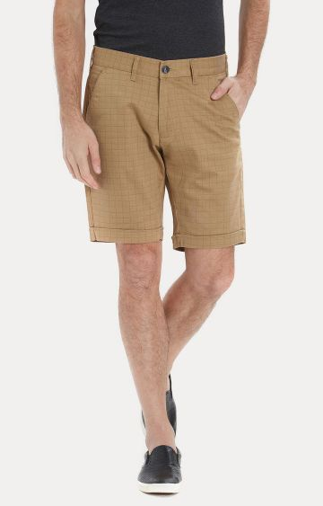Easies | Light Brown Checked Shorts