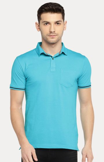 Easies | Blue Solid Polo T-Shirt
