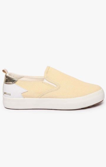 GAS | Women's slip on beige Bella denim shoes