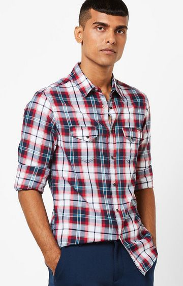GAS | Men's Kant SS navy blue checks shirt