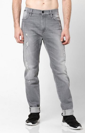 GAS | Men's Distressed Straight Fit Grey Jeans
