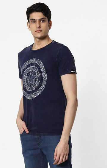 GAS | Ajar Printed Round Neck Blue T-Shirt