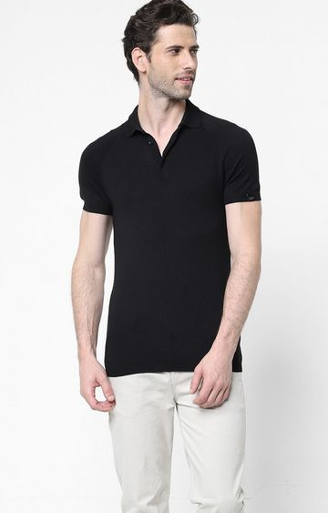 GAS   Ryce Solid Black Polo Shirt
