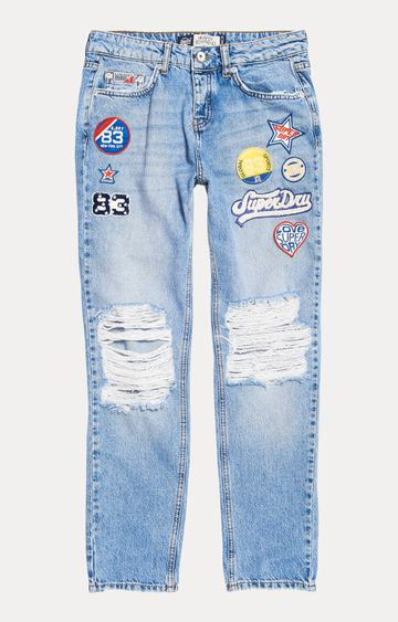 Superdry | Pacific Blue Printed Straight Jeans