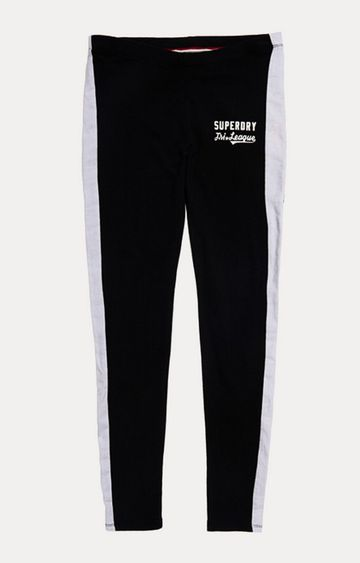 Superdry   Tri League Graphic Black Solid Tights