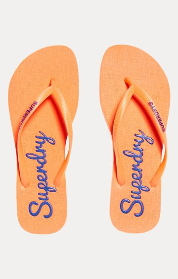 Superdry | Fluro Coral and Anchor Blue Flip Flops