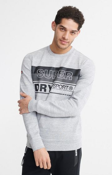 Superdry | Light Grey Gymtech Graphic Crew Sweatshirt