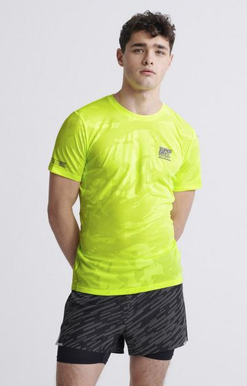 Superdry | Luminous Yellow Training Breathable Camo T-Shirt
