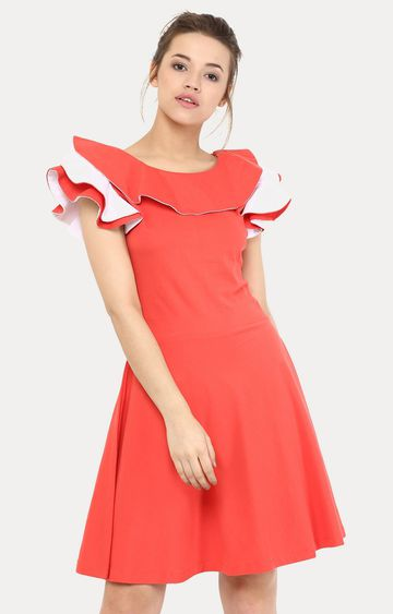 MISS CHASE | Coral Just For The Frill Skater Dress