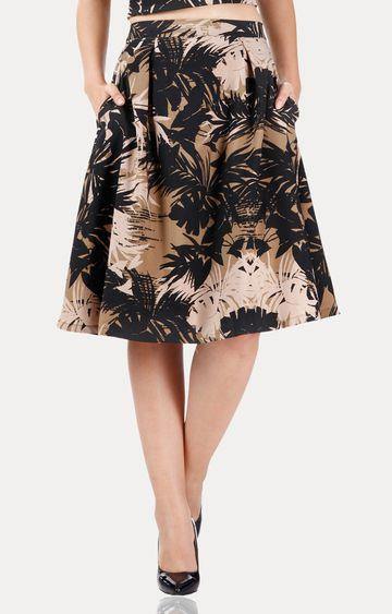 MISS CHASE | Multicoloured Mid Rise Midi Printed Skater Skirt