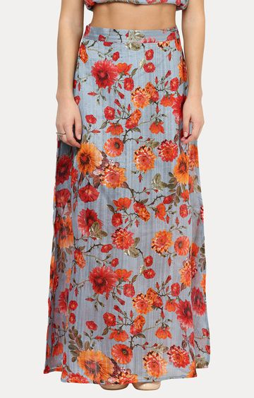 MISS CHASE | Multicoloured A-Line Floral Printed Maxi Skirt