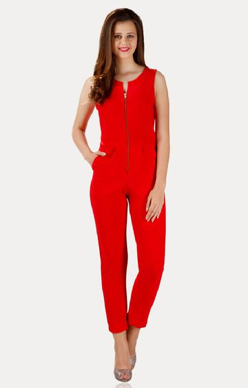 MISS CHASE | Red Long Jumpsuit