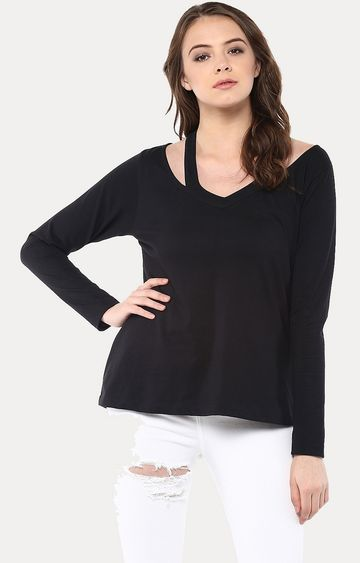 MISS CHASE | Black Showcase Cut Out Fullsleeve Top