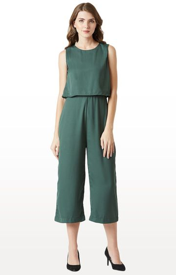 MISS CHASE | Teal Solid Jumpsuit