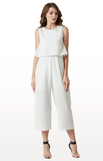 MISS CHASE | White Solid Jumpsuit