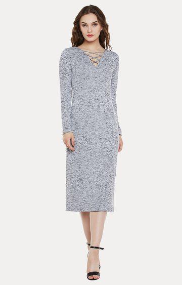 MISS CHASE | Grey Melange Maxi Dress