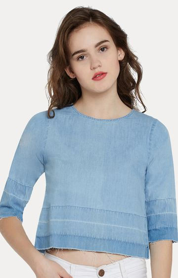 MISS CHASE | Blue Denim Round Ombre Shaded Solid Crop Top