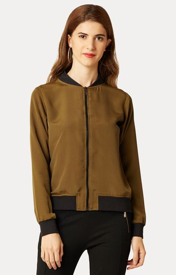 MISS CHASE | Olive Round Neck Solid Bomber Jacket