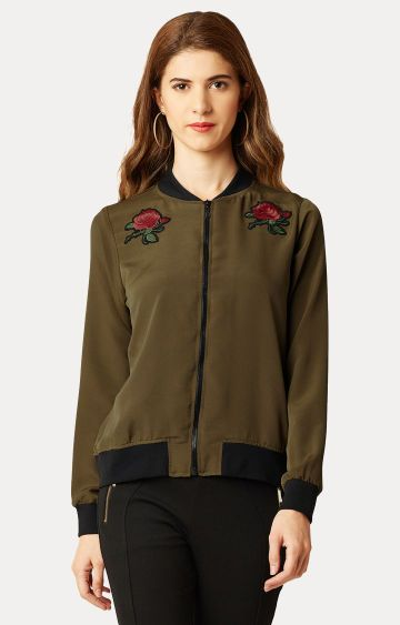 MISS CHASE | Olive Solid Embroidered Bomber Jacket