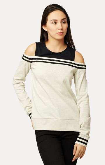 MISS CHASE | Off White and Black Solid Cold Shoulder Sweatshirt