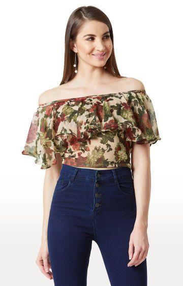 MISS CHASE | Multicoloured Floral Off Shoulder Top
