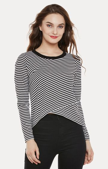 MISS CHASE | Black and White Striped Asymmetric Top