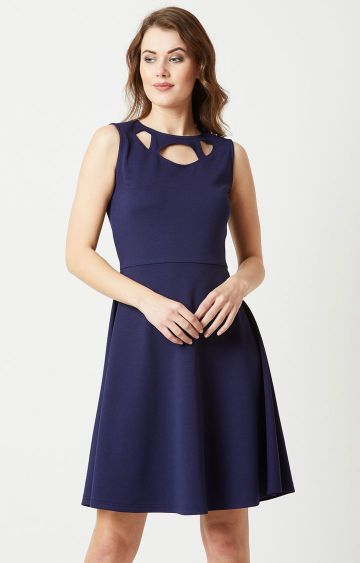 MISS CHASE | Navy Solid Skater Dress