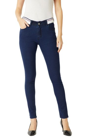 MISS CHASE | Navy Blue Twill Tape Detailing Stretchable Jeans