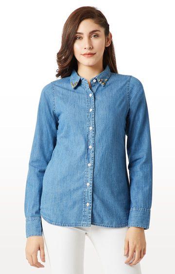 MISS CHASE | Blue Solid Flap Detailing Embellished Denim Shirt