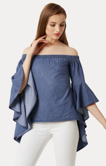 MISS CHASE | Blue Off Shoulder Ruffled Solid Denim Top