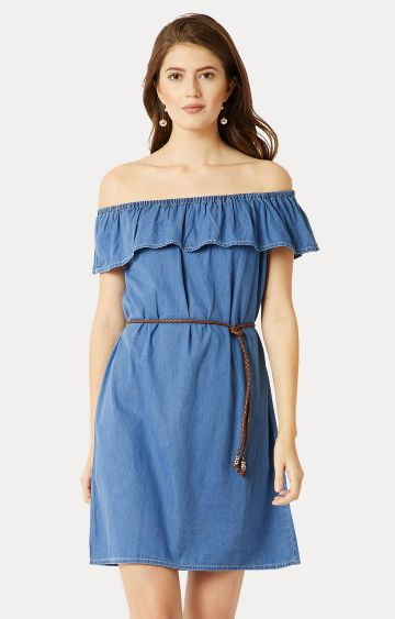 MISS CHASE   Blue Solid Belted Bardot Dress
