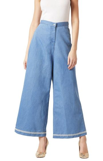 MISS CHASE   Blue Solid High Rise Pearl Lace Detailing Stretchable Flared Trousers