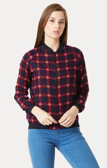 MISS CHASE | Navy Blue Checked Bomber Jacket