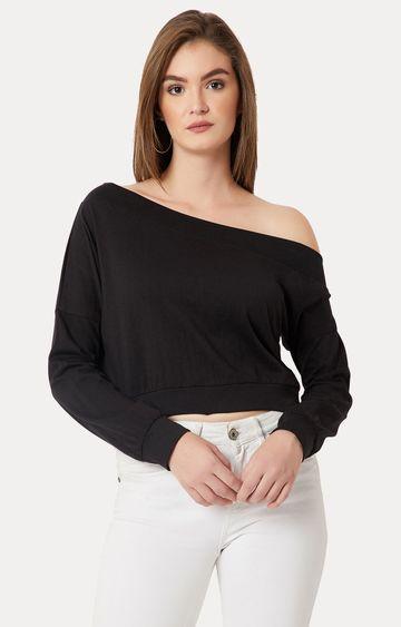 MISS CHASE | Black Solid One Shoulder Crop Sweatshirt