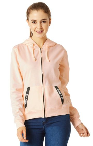MISS CHASE | Peach Solid Twill Tape Detailing Hoodie
